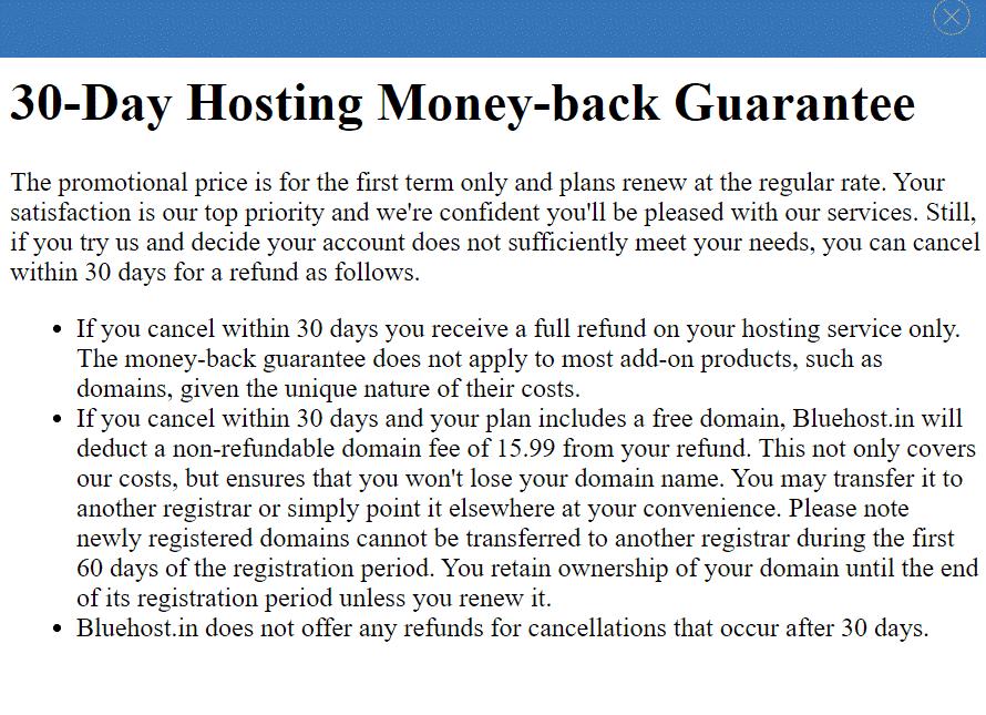30-Days Hosting Bluehost Money Back Guarantee